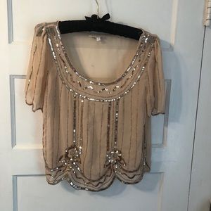 GUC Champagne sheer princess style sequin blouse
